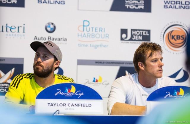 Canfield (l) kündigt bei der Pressekonferenz an, in Zukunft mit Williams Taktiker zu segeln. © Robert Hajduk/wmrt