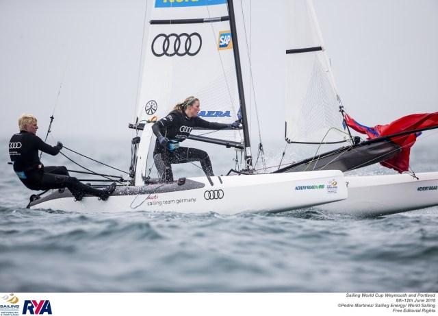 Erichsen/Spitzmann beim Gennaker-Set in Weymouth. ©Pedro Martinez / Sailing Energy