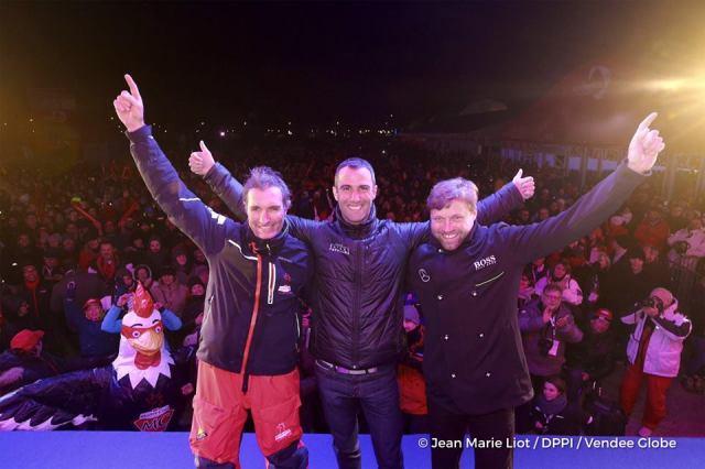Das Podium der Vendée Globe 2016/17. © Jean-Marie Liot / DPPI / VENDEE GLOBE