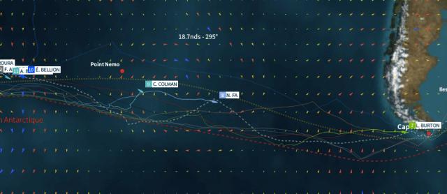 Colman kämpfte nahe Point Nemo , dem am weitesten von Land entfernten Punkt der Welt, im 60 Knoten-Sturm um den Verbleib im Rennen.