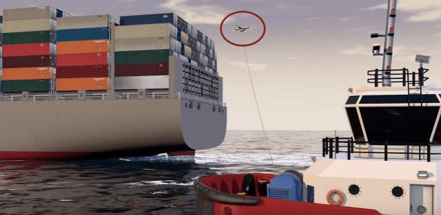 Drohne zum Containerschiff