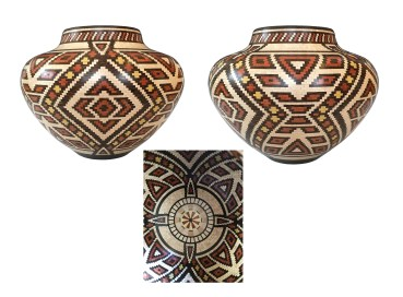 """12"""" diameter by 9"""" high. Made with Maple, Wenge, Bloodwood and Yellowheart. There are over 10,000 pieces that make up this vase."""