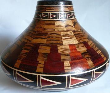 "Zebra Vase -Zebra wood, Bloodwood, Maple, Wenge 11""; diameter by 8.5"" tall"