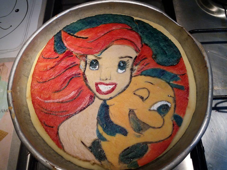 Pasta frolla artistica dipinta tema sirenetta