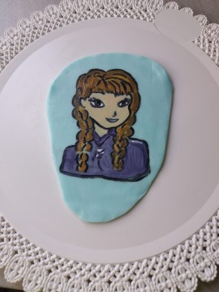 piastra 2D Anna di frozen in pasta di zucchero