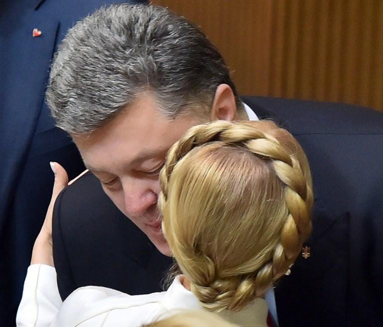 Юлия Тимошенко и президент страны Петр Порошенко