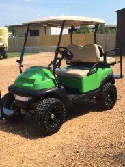 Green custom golf cart