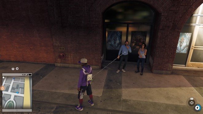 One male and one female outside the doors of Ubisoft in Watch_Dogs 2