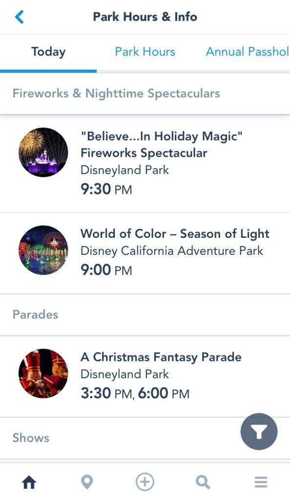 iOS Screenshot of a list of showtimes at DISNEYLAND Resort.