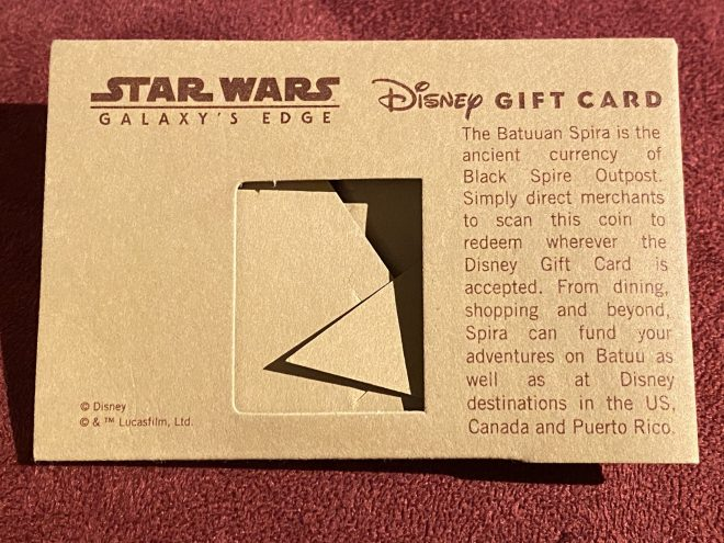 The back side of an envelope of the Star Wars Batuuan Spira coin.