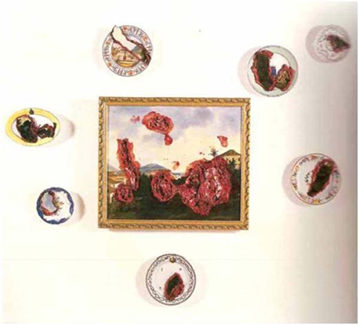 Imagem: Adriana Varejão, Carne à la Taunay, 1997. 65x75com