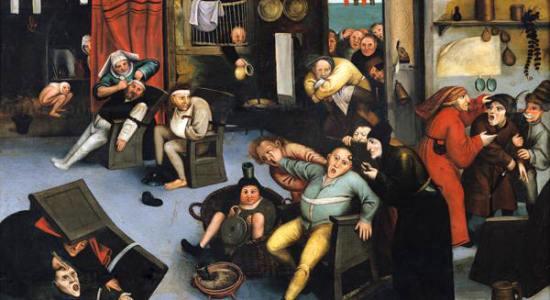 A extração da pedra da loucura. Pintura de Pieter Bruegel