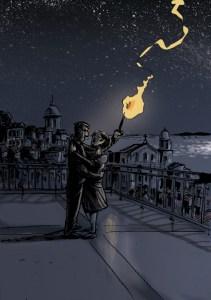 Fernão e Lisa à noite em Alfama