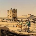 Carola, Mónico e Tugúbio com a torre de Centum Cellas