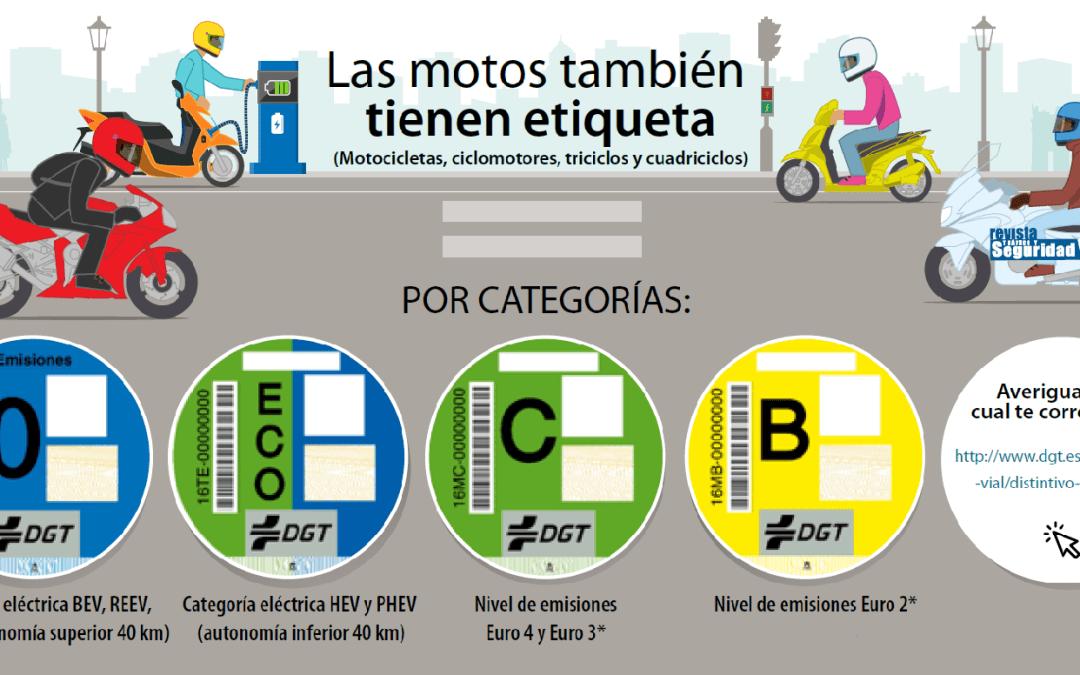 Motos, DGT y etiquetas medio ambientales o potencia contaminante