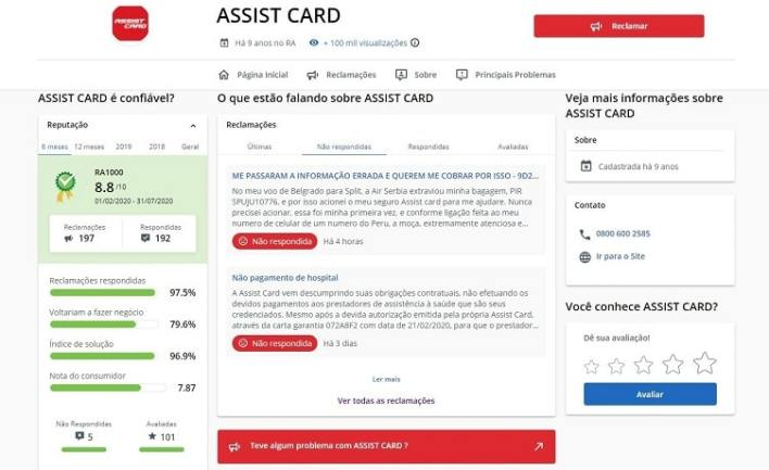 Assist Card Reclame Aqui