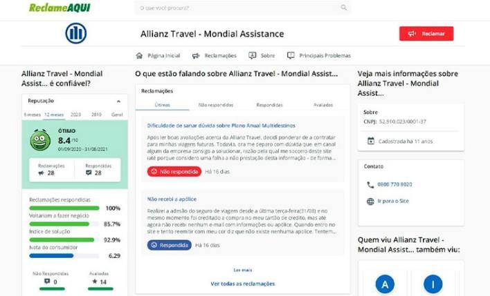 Allianz Travel Reclame Aqui