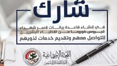 Photo of نقابة الأطباء تعلن إنشاء قاعدة بيانات لأسر شهداء فيروس كورونا..تفاصيل