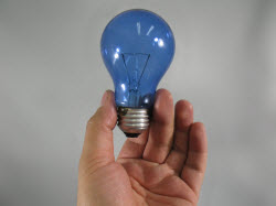 a blue light bulb, a visual metaphor for having a single idea