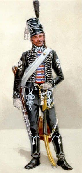 Cavalier des hussards de la mort, 1792-1793 - Aquarelle de Steven Palatka.