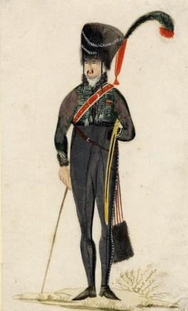 Dessin naïf représentant un officier du 2e régiment de hussards.
