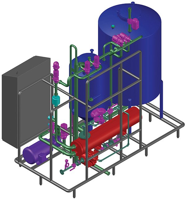 Figure 5: Shown here is a 3-D model of a single-use clean-in-place (CIP) skid with a tulip recirculation tank