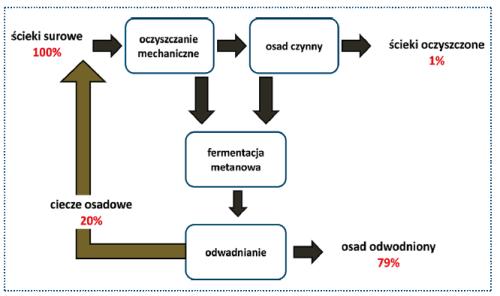Rys. 1. Bilans mikroplastiku w oczyszczalni ścieków wg Talvitie [3]