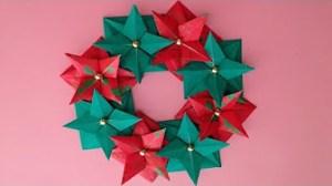 折り紙のクリスマスリース