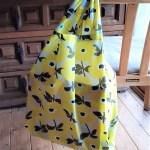 エコバッグをナイロン生地で作りました♪軽くて小さく折りたためて便利☺