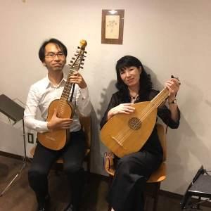 永田斉子(リュート)と西垣林太郎(クィンテルナ)コンサート記念撮影写真