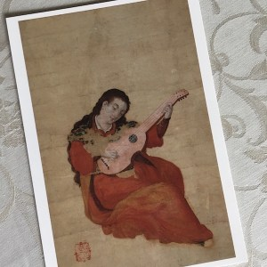 婦女弾琴図(伝信方・大和文華館所蔵)絵葉書