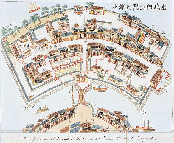 出島鳥瞰図(1824-25頃)