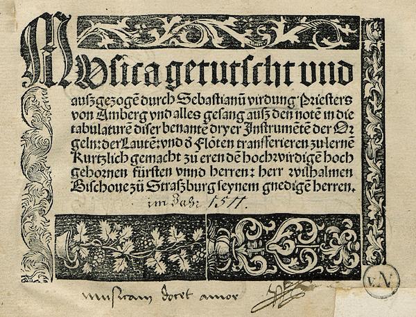 『Musica getutscht und außgezogen』表紙