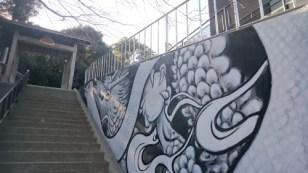 壁画 昇白蛇・白龍図完成