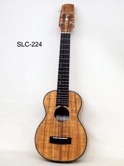 SLC-224 カーリーコアのコンサートウクレレ シャンパンゴールドの明るい色のコアに、べっ甲模様のバインディングを組み合わせています。  ハワイアンコアという木は、1本の木の中でも様々な色や木目などの質ががあります。  Seilen工房ではハワイの木材業者との太いコネクションを通して大量のコア材を仕入れ、常にシーズニングをして寝かせています。 カーリーコア材は、コア全体の中の数%しか存在しない貴重で美しい素材です。
