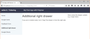 The web page with right drawer - normal mode