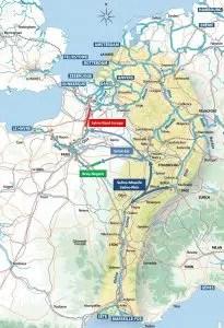 Projection des grands projets fluviaux sur une carte de la France fluviale © Asso SMR