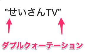 """ダブルクォーテーション("""")2つで「せいさんTV」を囲んで"""