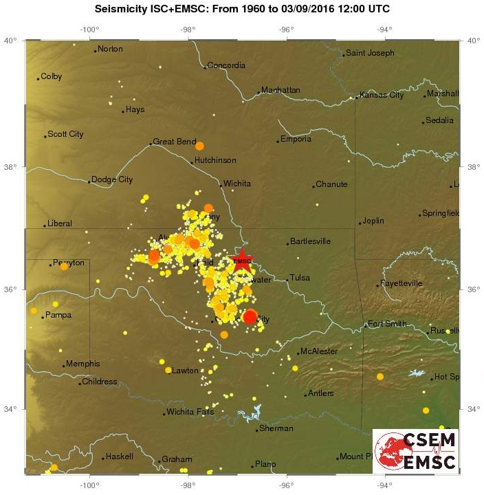Map of the seismicity in Oklahoma since 1960.