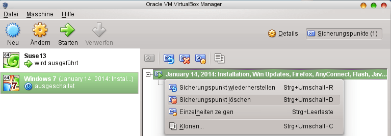 VirtualBox: Snapshots filling up disk, what to do