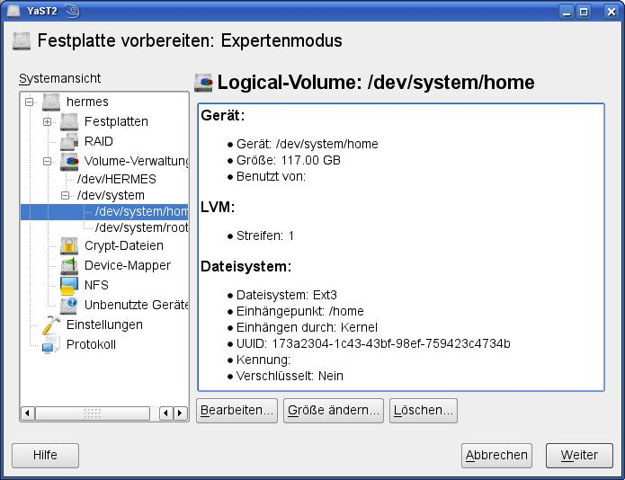 Setting up LVM on Suse Linux (3/3)