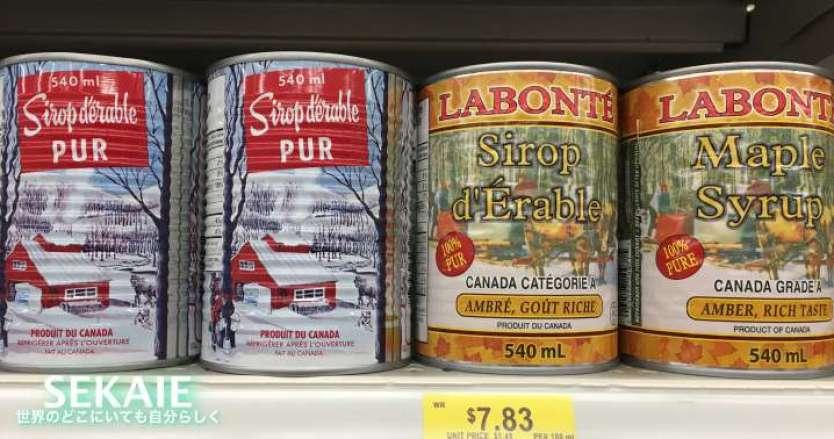 メープルシロップの缶詰