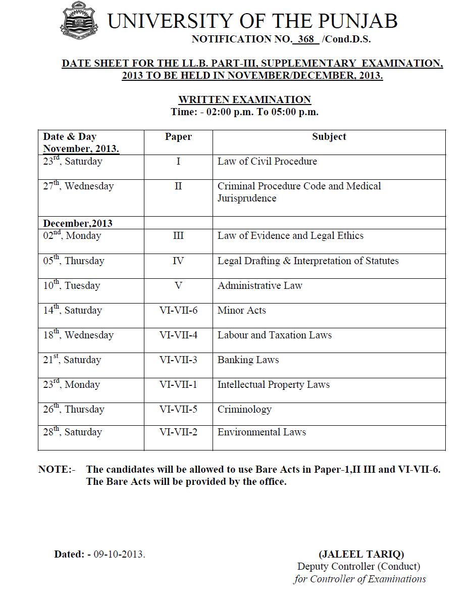 PU LL.B. Part-I. II & III Supplementary Examination 2014 Date Sheet