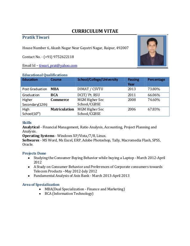 Simple Resume Format In Word Sample