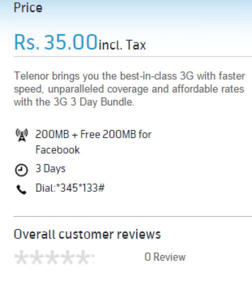 Telenor 4G 3 Days Internet Offer 2017 Price RS 35
