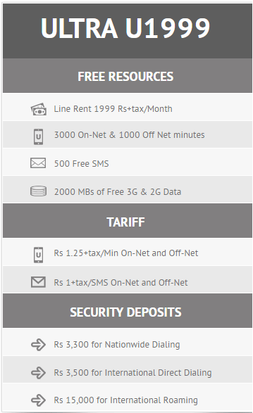 Ufone Postpaid pakcages 2017 u1999