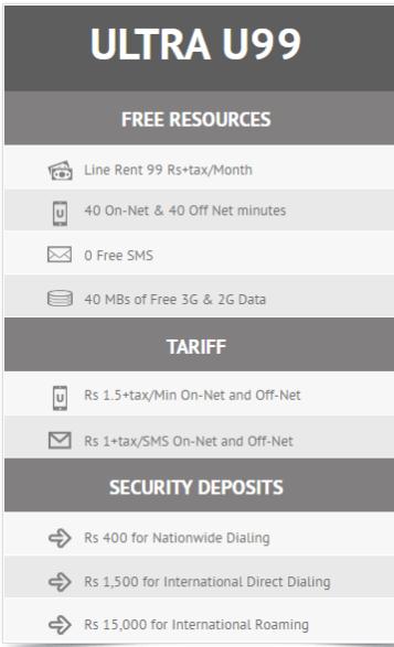 Ufone Postpaid pakcages 2017 u99