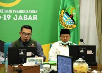 Foto: Gubernur Jawa Barat Ridwan Kamil saat menggelar pertemuan dengan 27 ketua MUI se-Jabar via video conference terkait fatwa haram mudik dan persiapan menghadapi bulan Ramadan di Gedung Pakuan