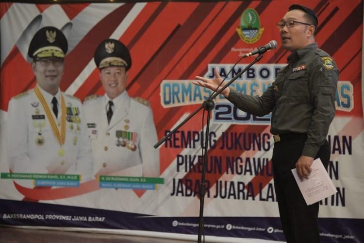 Foto: Gubernur Jawa Barat (Jabar) Ridwan Kamil saat acara Jambore Ormas, LSM, dan Komunitas Jabar 2020 di Sport Jabar, Arcamanik, Kota Bandung