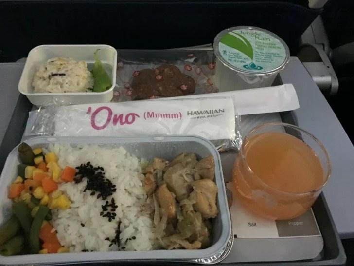 ハワイアン航空エコノミークラス機内食